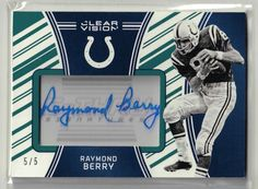 2016 Clear Vision Football Raymond Berry Green Autographed Card #2/5 RARE #NFLBaltimoreColts