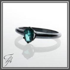 Genuine Green Topaz Ring Engagement  Vintage by FutureArtJewelry,