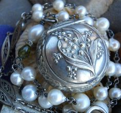 Humility    Antique French Lily of the Valley Locket Pearl Assemblage Necklace by HappyMoonDesigns on Etsy