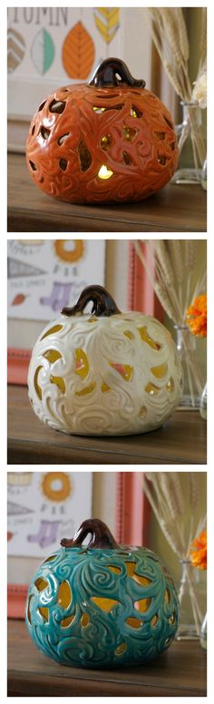 Illuminate your home in the harvest spirit with our Pre-Lit Flowing Ceramic Pumpkins. These little pumpkins are adorable to look at during the day, and at night they provide a soft glow so you won't trip over furniture on your way to a midnight snack!
