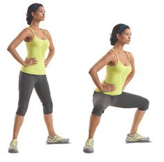 Plie/Sumo Squat Tip: Open legs WIDER than shoulder-width apart and turn out toes.