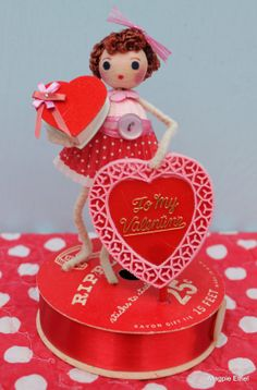Vintage Style Valentine Girl - Spun Cotton, Valentine Candy Box and Be My Valentine Heart