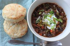 Ground Beef Chili with Jalapeno Cheddar Biscuits from an Italian-centric chef... this looks so good! #wagyu #comfortfood #gourmet