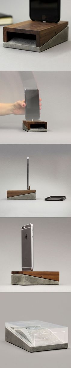 The Mobi combines the roughness of concrete and the elegance of wood. The result is a sleek, adaptable charging station, concealed in a minimalistic clean-lined object. Smartly equipped with a micro-suction pad free of adhesives, it can be affixed securely to any flat surface, supporting the iPhone with or without a case and enabling one-handed plugging and unplugging.: