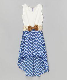 Maya Fashion Royal Blue & White Chevron Belted Hi-Low Dress - Girls   zulily