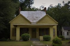 Sylvania GA Screven County Symmetrical Vernacular House Twin Shingle Dormers Chartreuse Photograph Copyright Brian Brown Vanishing South Geo...