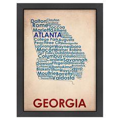 Georgia Typography Map Framed Print.