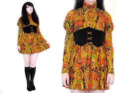 Vtg 60s 70s Paisley Psychedelic Velvet Corset Puff Sleeve Hippie Mini Dress XS