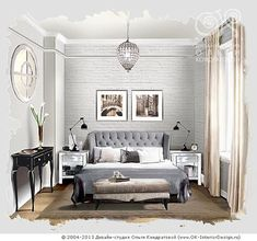 Bedroom Design Nuances in Small Apartments interior-design. Bedroom Design Nuances in Small Apar Interior Design Renderings, Drawing Interior, Interior Design Boards, Interior Design Photos, Interior Rendering, Interior Sketch, Interior Architecture, Small Apartment Interior, Living Room Interior