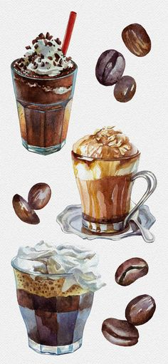 Watercolor Coffee and Ice Cream by Lyubov Shevchenko. Watercolor Coffee and Ice Cream by Lyubov Shevchenko. Coffee Art, Coffee Drawing, Iced Coffee, Coffee Menu, Espresso Coffee, Starbucks Coffee, Coffee Shop, Watercolor Food, Simple Watercolor