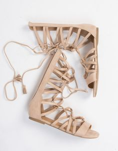 Suede Gladiator Sandals - Lace Up Sandals - Brown Sandals – 2020AVE
