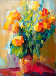 "Saatchi Art Artist Lena Levin; Painting, ""Yellow roses in sunlight"" #art"