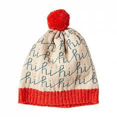 Hi Bye Hat - Orange by Donna Wilson. wool, made in UK Brother Knitting Machine, Winter Kids, Sweater Making, Elegant, Knitted Hats, Knitwear, Knit Crochet, Knitting Patterns, Kids Fashion