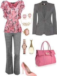 """Pink and Gray work"" by rockymtnrain on Polyvore"