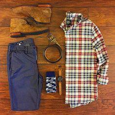 Outfit grid - Checks & chukka boots