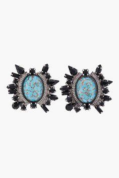 Dannijo Turquoise Crystal Minka Stud Earrngs for women   SSENSE