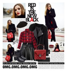 """""""RED IS THE NEW BLACK"""" by angiielf ❤ liked on Polyvore featuring Zara, Harrods, Alexander McQueen and Orelia"""