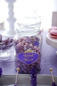 Candy jars at a Sofia the First birthday party! See more party planning ideas at CatchMyParty.com!