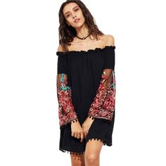 a3055e0732b Off Shoulder Embroidered Mesh Sleeved Dress