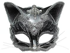 Jewelled Cat Masquerade Eye Mask features a black mask with ears, silver decoration and detail with whiskers attached to a headband. Description from dressingupboxonline.co.uk. I searched for this on bing.com/images