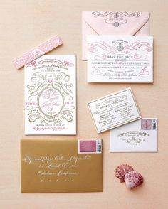 """See the """"Elegant Beach Invitation"""" in our Vintage-Style Wedding Invitations gallery"""