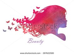 Silhouette head with watercolor hair.Vector illustration of woman beauty salon - stock vector