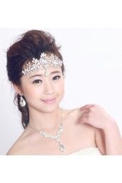 Gorgeous Wedding Jewelry Set - Rhinestones and Pearls with Alloy Plated Earrings,Necklace and Headpiece