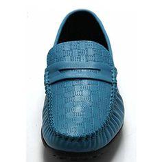 Santimon-Men's Comfortable Genuine Leather Driving Shoe Horsebit Moccasins Loafer Doug Shoes-Light blue-42