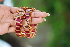 Ruby Bracelet Bangles Pair - South India Jewels - Real Kemp Stone Bracelet Bangles With One Gram Gold Finish - Ruby Bangles, Ruby Bracelet, Stone Bracelet, Bangle Bracelets, Gold Bangles Design, Gold Jewellery Design, Egyptian Jewelry, Egyptian Art, Imitation Jewelry