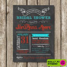 Chalkboard Red & Turquoise Bridal Shower by KellyJoStudio on Etsy
