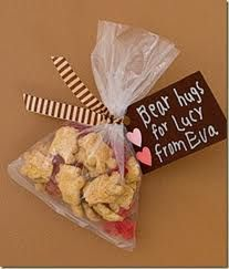 Use teddy grahms and gummy bears for kids party favors at a teddy bear picnic party