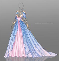 Robe de princesse rose et bleue longue