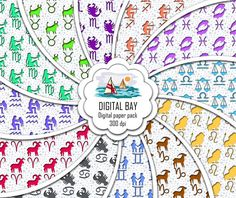 ZODIAC  Digital paper pack  Instant download  by DigitalBay