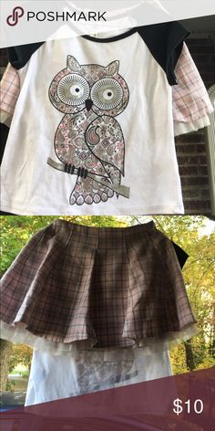 Wendy Bellissimo Beautees Owl Plaid Skirt Set sz 4 Wendy Bellissimo Girls Pink and black Plaid skirt set are two different brands but bought as a set. Beautees tee with black sleeves and paisley print owl is size small, made in China of 65% polyester 35% rayon. Wendy Bellissimo Baby & Kids pink Plaid skirt is size 48 Months, Elastic back and tulle lower than skirt. Made in China of 65% polyester 35% rayon. Wendy Bellissimo Matching Sets