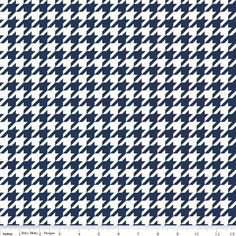 Patriotic Navy Houndstooth Fabric by Riley by SewFancyFabrics