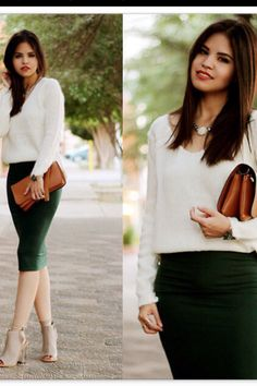 Love the green pencil skirt!