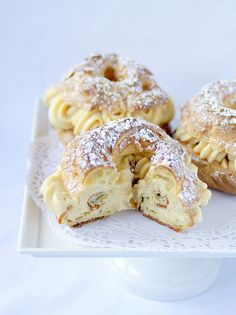 """Paris-Brest recipe! A classic French dessert! This sounds amazing... Definitely gourmet dessert... You really need to see the ingredients to see what i mean!! Brief description that doesn't do it justice... """"Its a large ring of pate a chouz filled with a praline-infused pastry cream! """""""