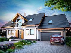 DOM.PL™ - Projekt domu DN KARMELITA BIS 2M CE - DOM PC1-47 - gotowy koszt budowy Cottage Exterior, Design Case, Home Fashion, Garden Art, House Plans, Shed, 1, Outdoor Structures, House Design
