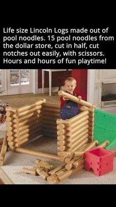 Lincoln logs made from pool noodles. Lincoln logs made from pool noodles. Kids Crafts, Projects For Kids, Diy For Kids, Diy And Crafts, Diy Projects, Easy Crafts, Kids Fun, Summer Crafts, Life Hacks