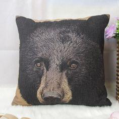 1 cotton linen simple forest mountain black bear head Pillow Cover / Cushion case 18x18 sofa decor