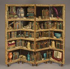 Libreria Screen, designed in 1953 by Piero Fornasetti. Transfer printed wood. #books