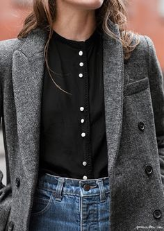 black button up, grey coat/grey cardigan, high waisted light wash jeans
