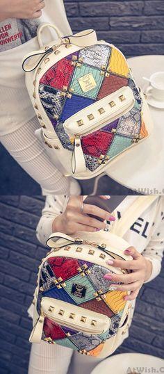 Fashion Mini Rivet Contrast School Rucksack Stitching Colorful Lady Backpack for big sale ! #rivet #fashion #backpack #school #college #bag #girl #student #leisure #travel