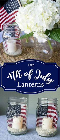Setting a table or service station only requires a few decorative touches. These simple 4th of July lanterns can be put together in less than 5 minutes! via @foodfunkids