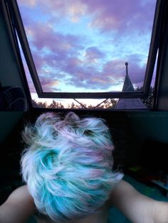 Hair that matches the sky above! They used MANIC PANIC® Atomic Turquoise, Lie Locks, and Cotton Candy Pink.