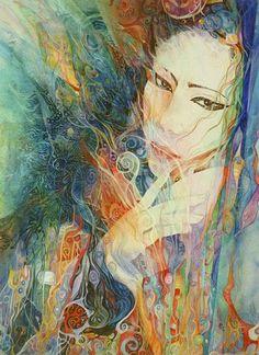 """""""Shinto Goddess Amaterasu 1"""" par Helena Nelson-Reed  #psychedelicmindscom psy-minds.com"""