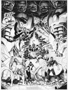 X-Men by Art Adams    The Sentinels are probably one of my favorites icons in all the Marvel universe. They're just so genially conceptualized.