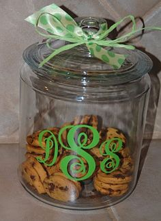 Monogram cookie jar...perfect for in the kitchen to hold cookies or Kureg k cups!