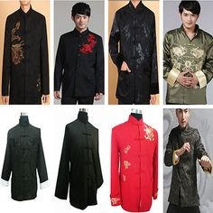 New Chinese Mens Silk Embroidery Coat Handsome Warm Jacket Sz M 3XL | eBay