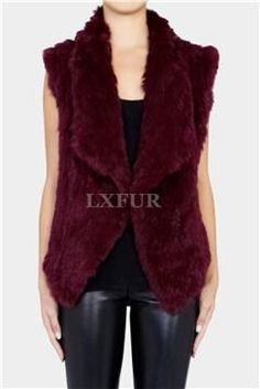 Fashion Spring Womens Real Close-woven Knitted Rabbit Fur Vests Gilets Wasitcoats Lady Solid Casual Sleeveless Outwear LX00017